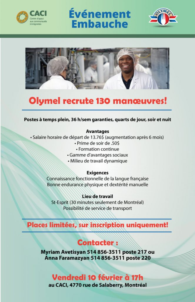 Événement Embauche: Olymel recrute 130 manœuvres! @ CACI | Montréal | Québec | Canada