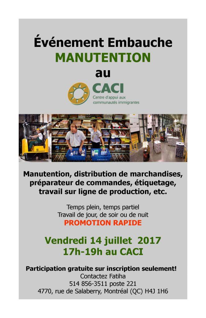 Événement Embauche Manutention @ CACI   Montréal   Québec   Canada