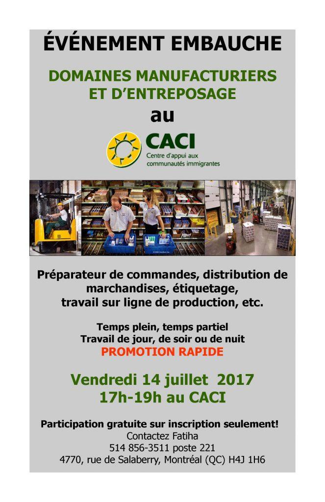 Événement Embauche Manutention @ CACI | Montréal | Québec | Canada