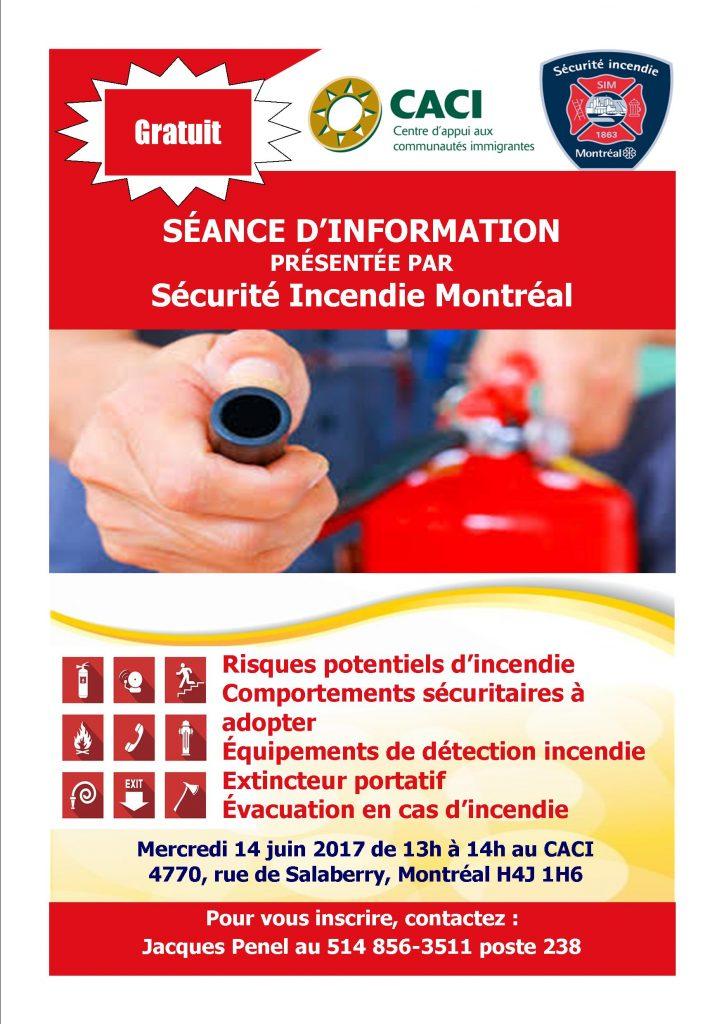 Séance d'information gratuite : sécurité incendie @ CACI | Montréal | Québec | Canada