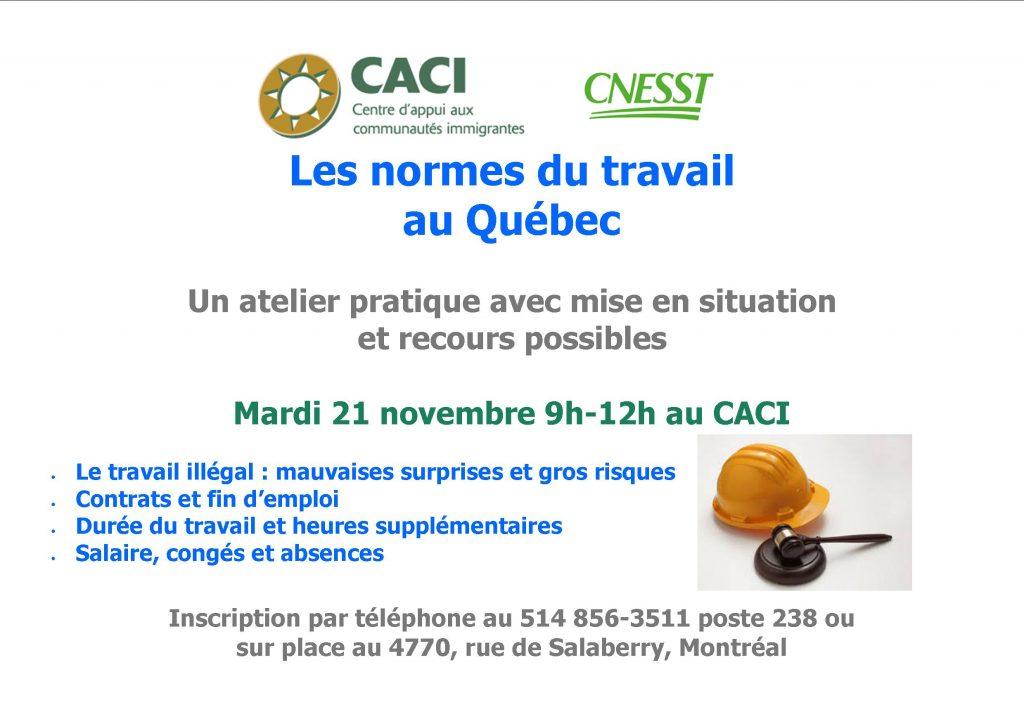 Les normes du travail au Québec @ CACI | Montréal | Québec | Canada