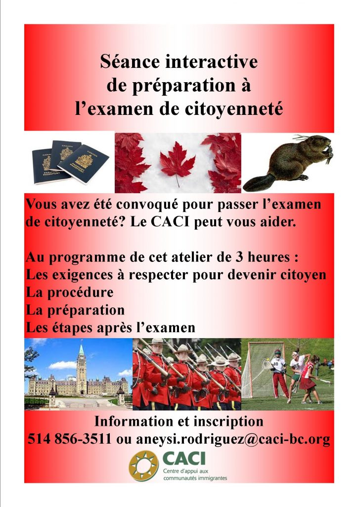 Atelier de préparation à l'examen de citoyenneté @ CACI | Montréal | Québec | Canada