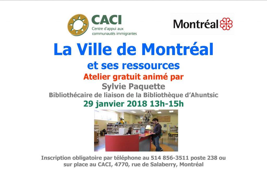 Séance d'information : la ville de Montréal et ses ressources @ CACI | Montréal | Québec | Canada