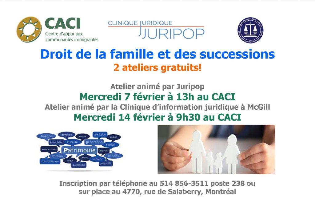 Séance d'information : droit de la famille et succession @ CACI | Montréal | Québec | Canada