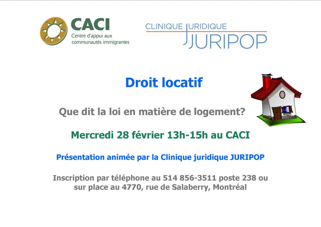 Séance d'information : le droit locatif @ CACI | Montréal | Québec | Canada