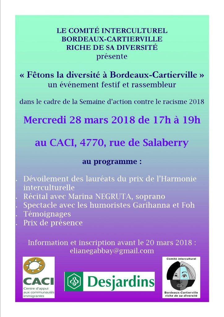 Fêtons la diversité à Bordeaux-Cartiervill @ CACI | Montréal | Québec | Canada