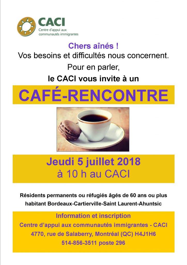 Café-rencontre avec les aînés de Bordeaux-Cartierville @ CACI | Montréal | Québec | Canada