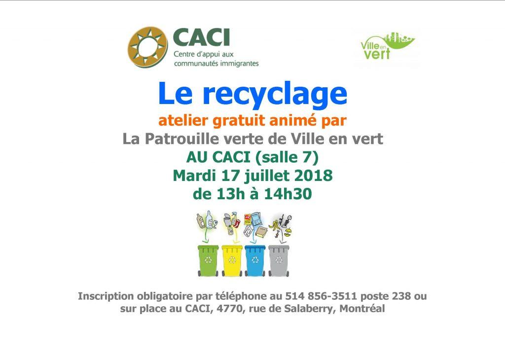 Atelier sur le recyclage @ CACI | Montréal | Québec | Canada