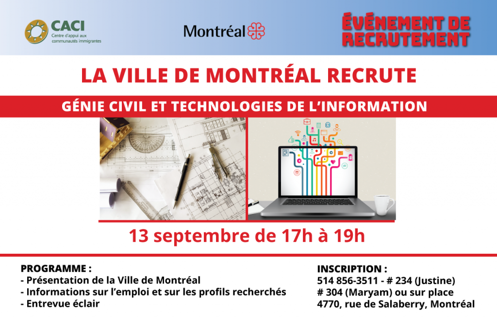 La Ville de Montréal recrute - Génie civil et technologies de l'information @ CACI | Montréal | Québec | Canada