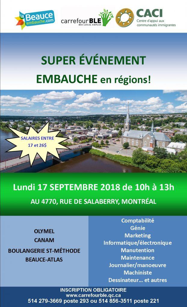 Super événement EMBAUCHE EN RÉGIONS @ CACI | Montréal | Québec | Canada