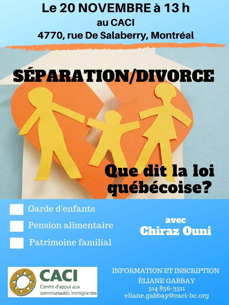 Divorce/Séparation, que dit la loi québécoise? @ CACI